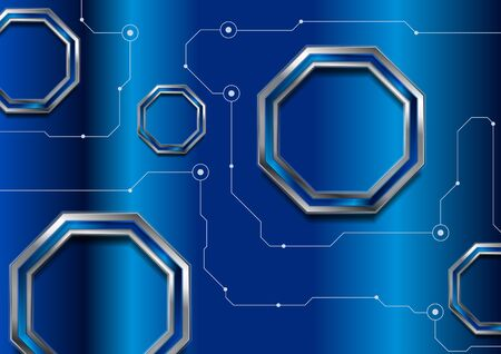 Blue abstract technology  with glossy octagons and circuit board lines.