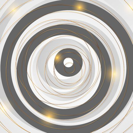 Golden round outline lines pattern on black and grey background. Vector modern digital art design Ilustração