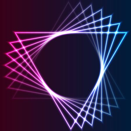 Blue and purple retro neon laser triangles abstract 일러스트