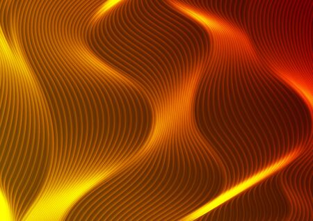 Abstract futuristic fiery orange neon wavy lines graphic design. Curved 3d flowing waves tech background. Vector illustration