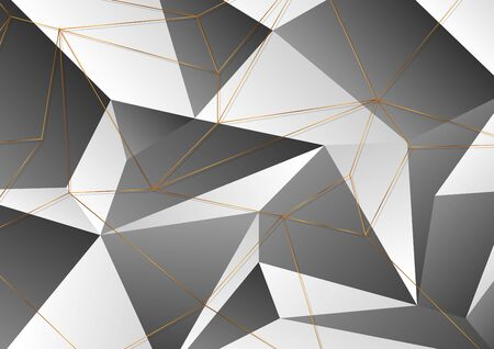 Golden polygonal outline lines texture on black and grey background. Vector modern digital art design