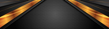 Black and bronze stripes on dark perforated background. Vector header banner design Ilustração