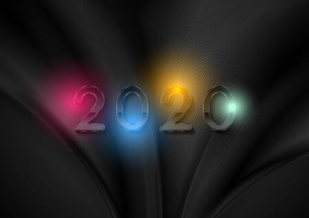 Black liquid waves and glossy 2020 New Year abstract background with colorful glowing lights. Smooth dark wavy Christmas graphic design. Vector illustration