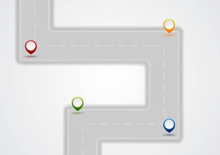 Grey abstract road infographics design. Vector tech template background
