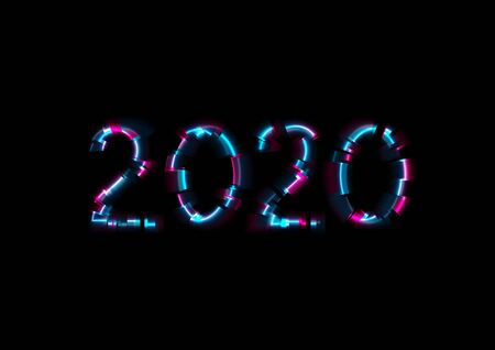 Abstract colorful glowing neon 2020 New Year background. Laser glitch effect Christmas greeting card vector design  イラスト・ベクター素材