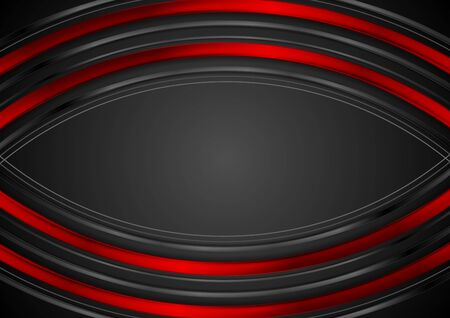 Abstrakter Hintergrund der roten und schwarzen Technologie glänzende gebogene Streifen. Vektordesign Vektorgrafik