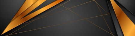 Black and bronze stripes abstract tech banner design. Concept corporate luxury golden background