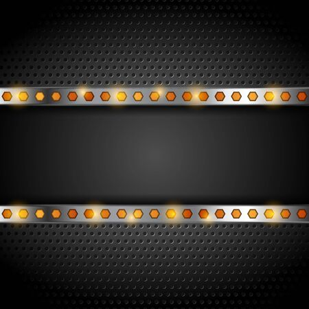 Technology metallic perforated background with orange hexagons. Vector illustration Ilustração