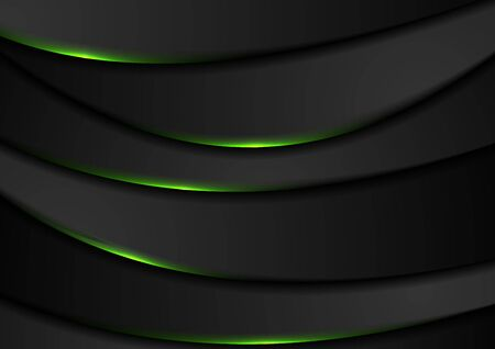 Black abstract wavy background with green neon glow light. Vector design