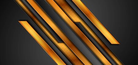 Black and golden abstract tech corporate background with glossy stripes. Vector design Ilustração