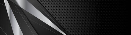 Black and silver metal stripes on dark perforated background. Vector monochrome design Ilustração
