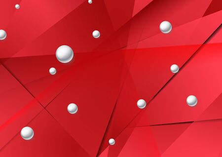 Bright red low poly graphic design with circle beads. Geometric glossy 3d spheres. Abstract polygonal tech background. Vector illustration