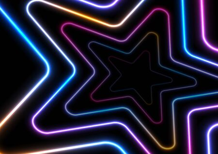 Colorful glowing neon stars abstract modern background. Vector template design