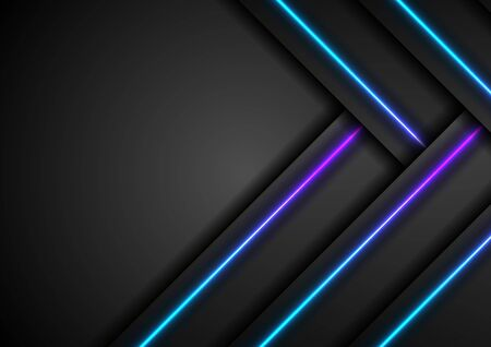 Black tech abstract graphic design with blue and purple neon laser lines. Glowing modern futuristic background. Vector illustration