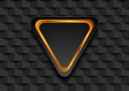 Golden triangle frame on black tech mosaic abstract background. Vector design