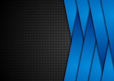 Abstract corporate background with perforation and blue geometric stripes. Vector design