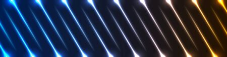 Blue orange neon laser rays lines abstract futuristic background. Technology vector banner design