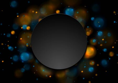 Blue and orange glowing lights. Shiny bokeh abstract galaxy background. Vector luminous design with black circle