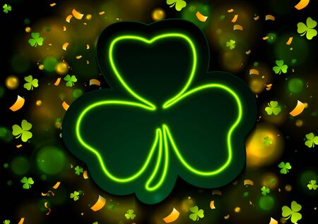 Irish neon shamrock clover with bokeh lights abstract background. Saint Patrick Day greeting design. Vector illustration