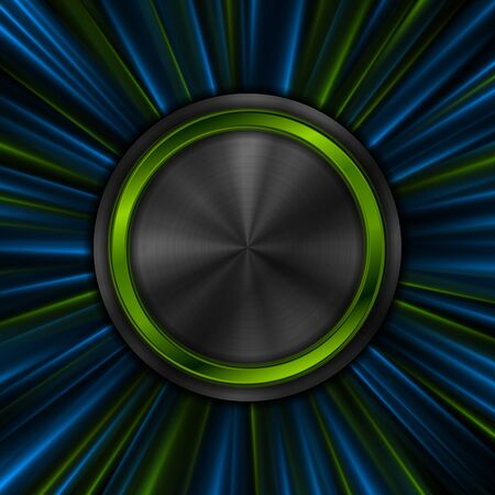 Abstract bright glowing technology background with metallic circles and shiny rays.