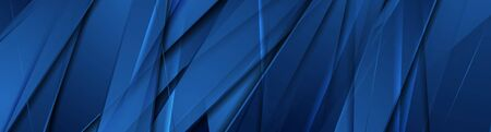 Blue glossy stripes abstract tech corporate background. Vector banner design Vettoriali