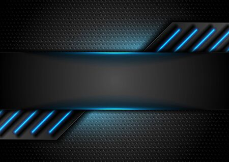 Futuristic perforated technology abstract background with blue neon glowing lines. Vector concept design Vetores