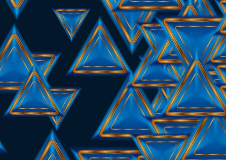 Abstract tech background with blue and golden triangles. Vector illustration