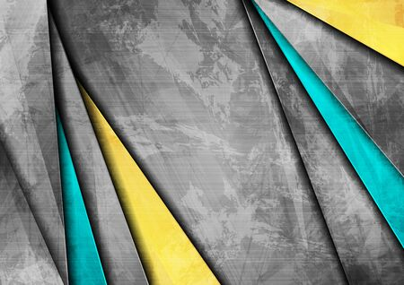 Blue yellow grey abstract grunge corporate background. Vector design