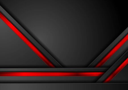 Black abstract tech background with contrast red glossy stripes. Vector geometric design