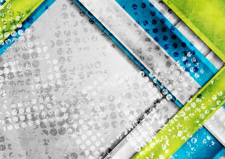 Grunge tech abstract background with colorful geometric stripes. Vector design