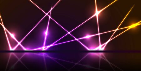 Purple and orange neon laser lines with reflection. Abstract rays technology retro background. Futuristic glowing graphic design. Modern vector illustration Vetores