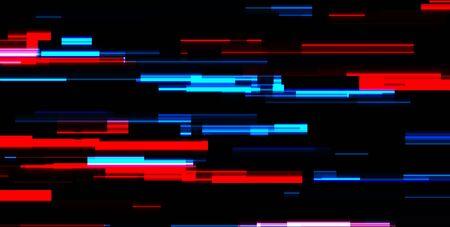 Abstract blue red tech glowing neon lines background. Laser glitch effect retro graphic design. Vector futuristic illustration Ilustração
