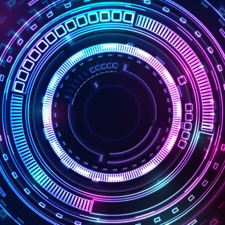 Blue and purple glowing neon HUD gear technology background. Luminous futuristic abstract vector design Vektorové ilustrace
