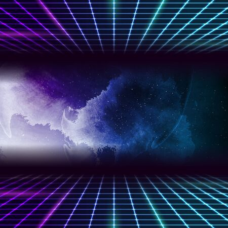 Retro futuristic 80s-90s abstract hi-tech neon background with grunge galaxy sky. Vector graphic design