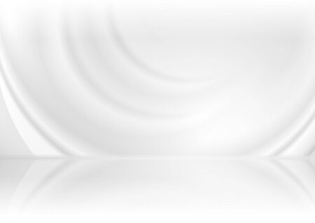 Grey and white smooth waves abstract tech background with reflection. Vector futuristic light design  イラスト・ベクター素材