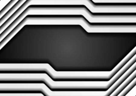 Abstract white stripes on black background. Vector corporate design