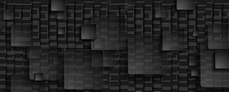 Black transparent squares on dark mosaic background. Abstract technology modern graphic design. Vector illustration