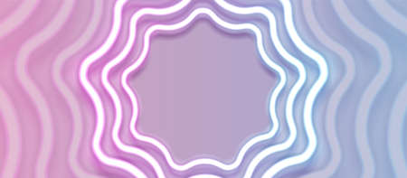 Blue and pink curved wavy neon circles frame. Technology retro sci-fi abstract futuristic background. Vector pastel colors design
