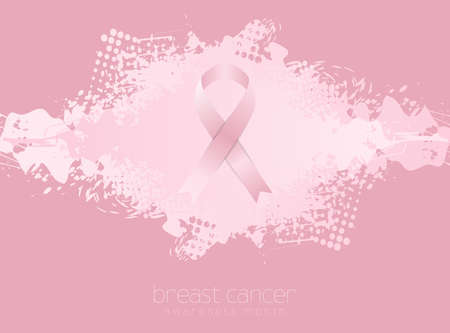 Breast cancer awareness month. Grunge blot background and pink ribbon tape. Women healthcare abstract vector design Vettoriali