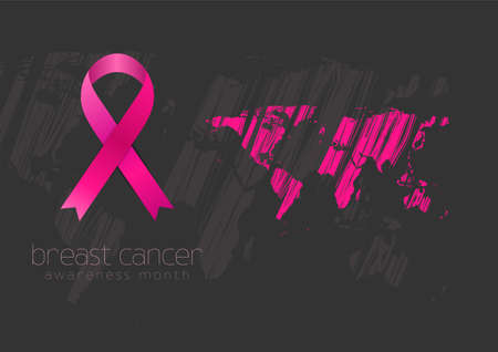 Breast cancer awareness month. Grunge world map and pink ribbon tape. Women healthcare abstract vector background
