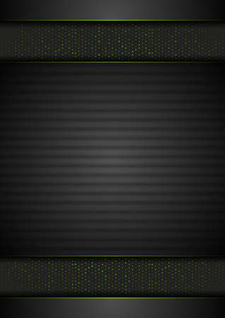 Technology abstract black striped background with green dots. Geometric vector design