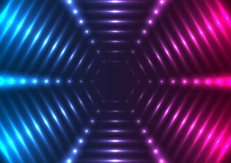 Blue purple glowing neon tech hexagons abstract background. Vector design