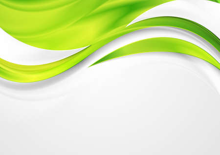 Bright green shiny glossy waves abstract background. Vector design