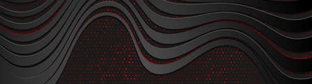 Black curved refracted waves and red dots abstract banner design. Futuristic vector background