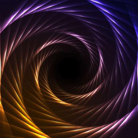 Violet orange retro neon laser hexagons swirl abstract background. Glowing round design. Vector illustration