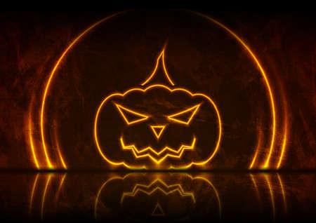 Orange neon Halloween pumpkin on grunge wall background with reflection. Vector design