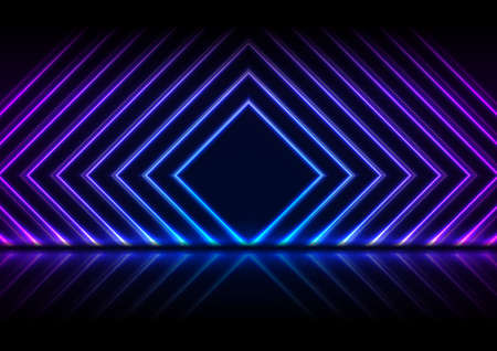 Blue and purple neon laser squares with reflection. Abstract technology background. Futuristic glowing vector design