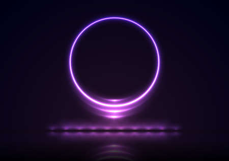 Glowing violet round neon sign with reflection. Abstract technology background. Futuristic luminous vector design