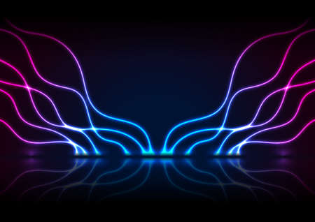 Blue purple neon wavy pattern with reflection. Abstract shiny technology retro background. Futuristic glowing vector design Vetores
