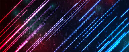 Futuristic technology neon abstract background with binary code numbers, letters and glowing laser lines. Dark blue and red backdrop. Concept vector design